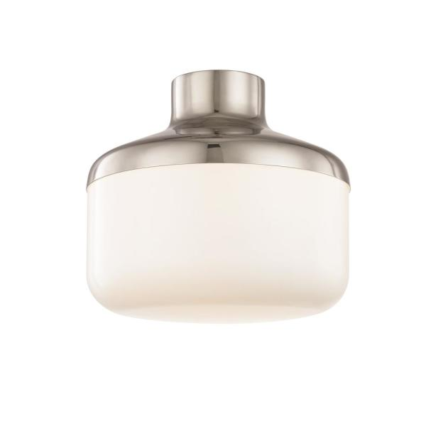 Livvy 1-Light Polished Nickel 12 in. W Flush Mount with Opal Glossy Glass