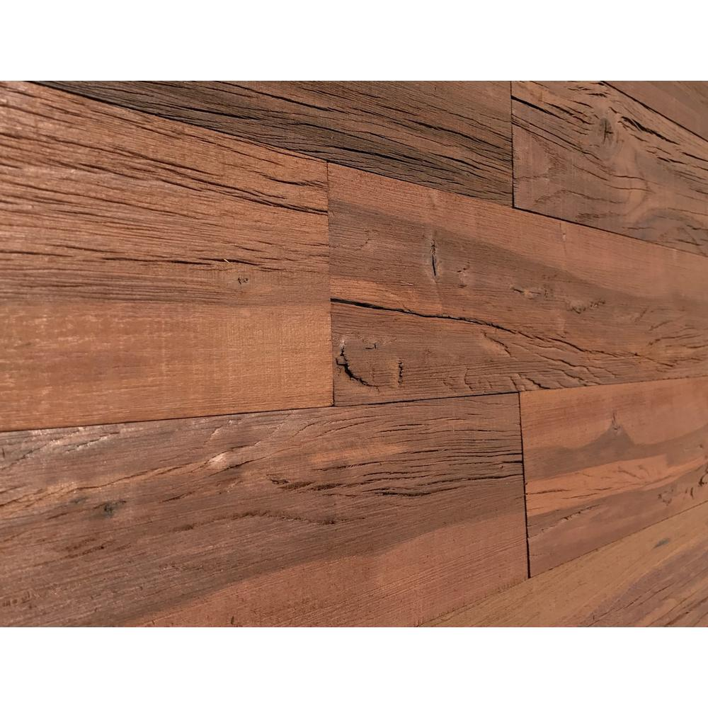1 4 in x 5 in x 2 ft brown reclaimed easy paneling 3d barn wood wall plank design 6 12 case 11136 the home depot