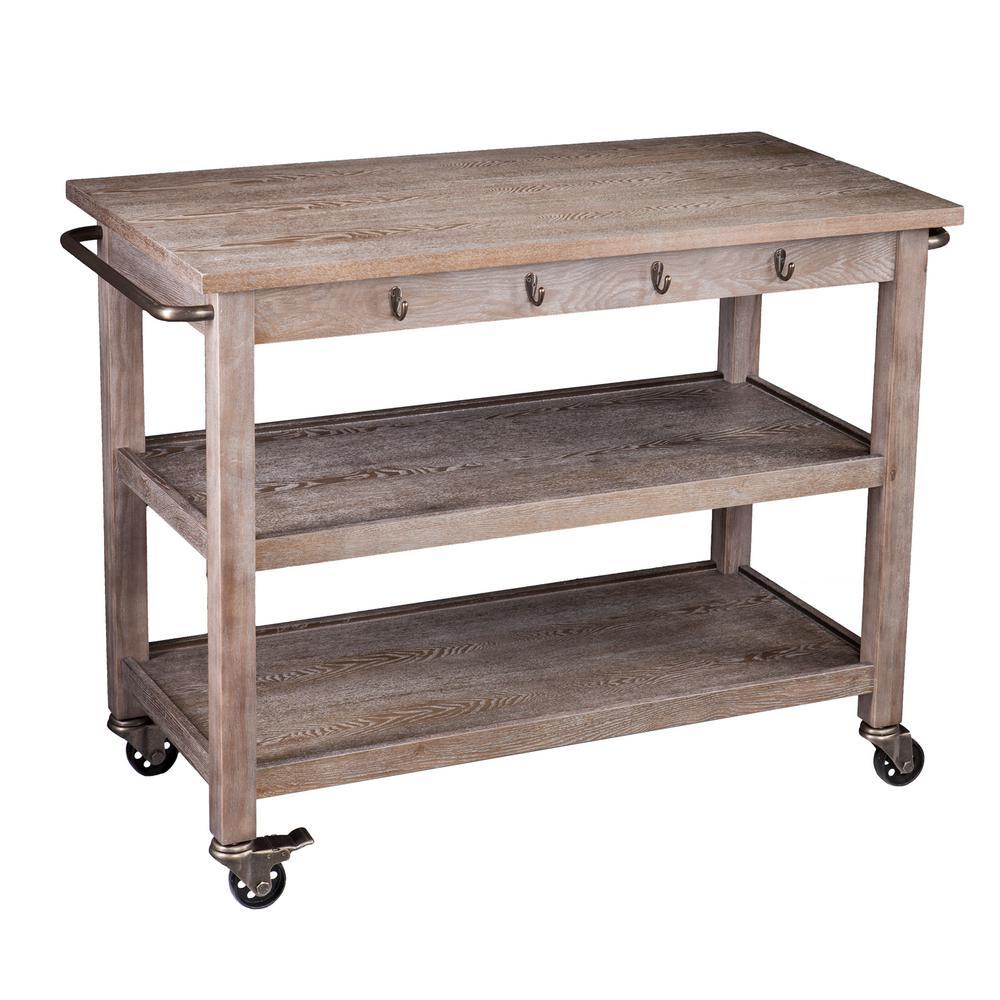 Soto Whitewashed Oak with Aantique Bronze Kitchen Cart