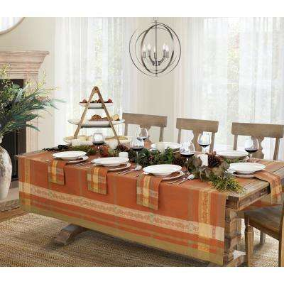 Promenade 63 in. W x 126 in. L in Harvest Jacquard Fabric Tablecloth