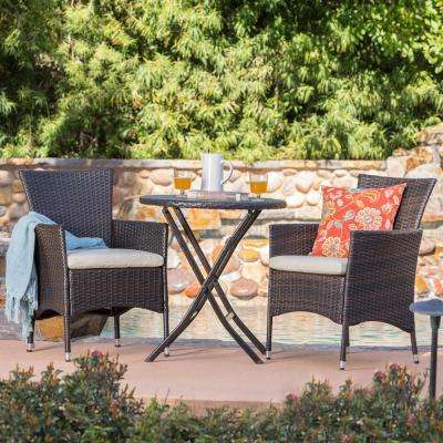 Malaga Multi-Brown 3-Piece Wicker Round Outdoor Bistro Set with Beige Cushions