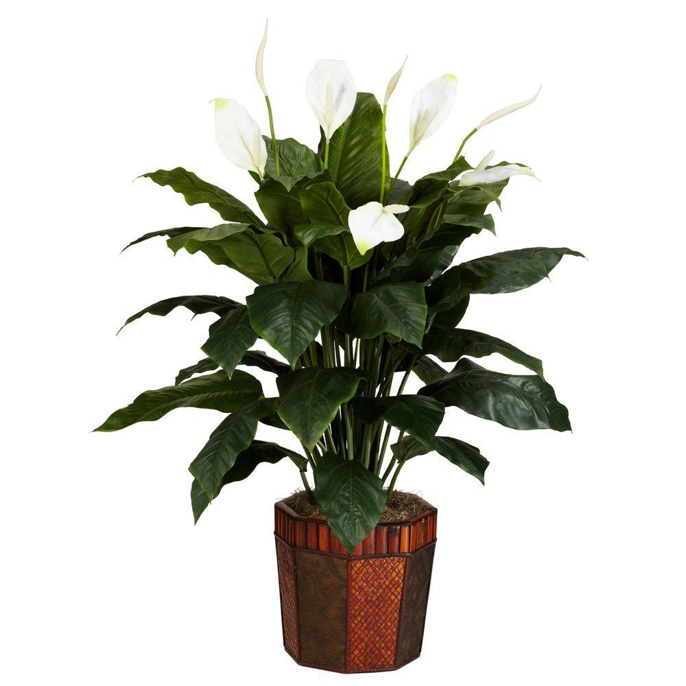 48 in. H Green Spathyfillum with Vase Silk Plant