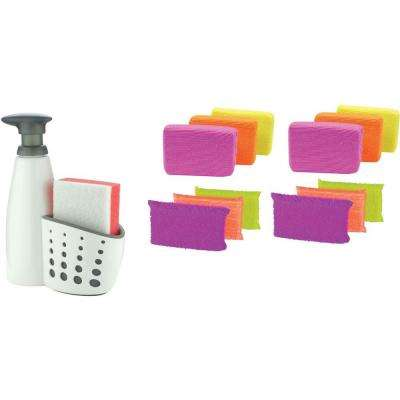 Sink Sider Soap Dispenser Set with Scrub Sponge and Microfiber Sponge 6-Pack