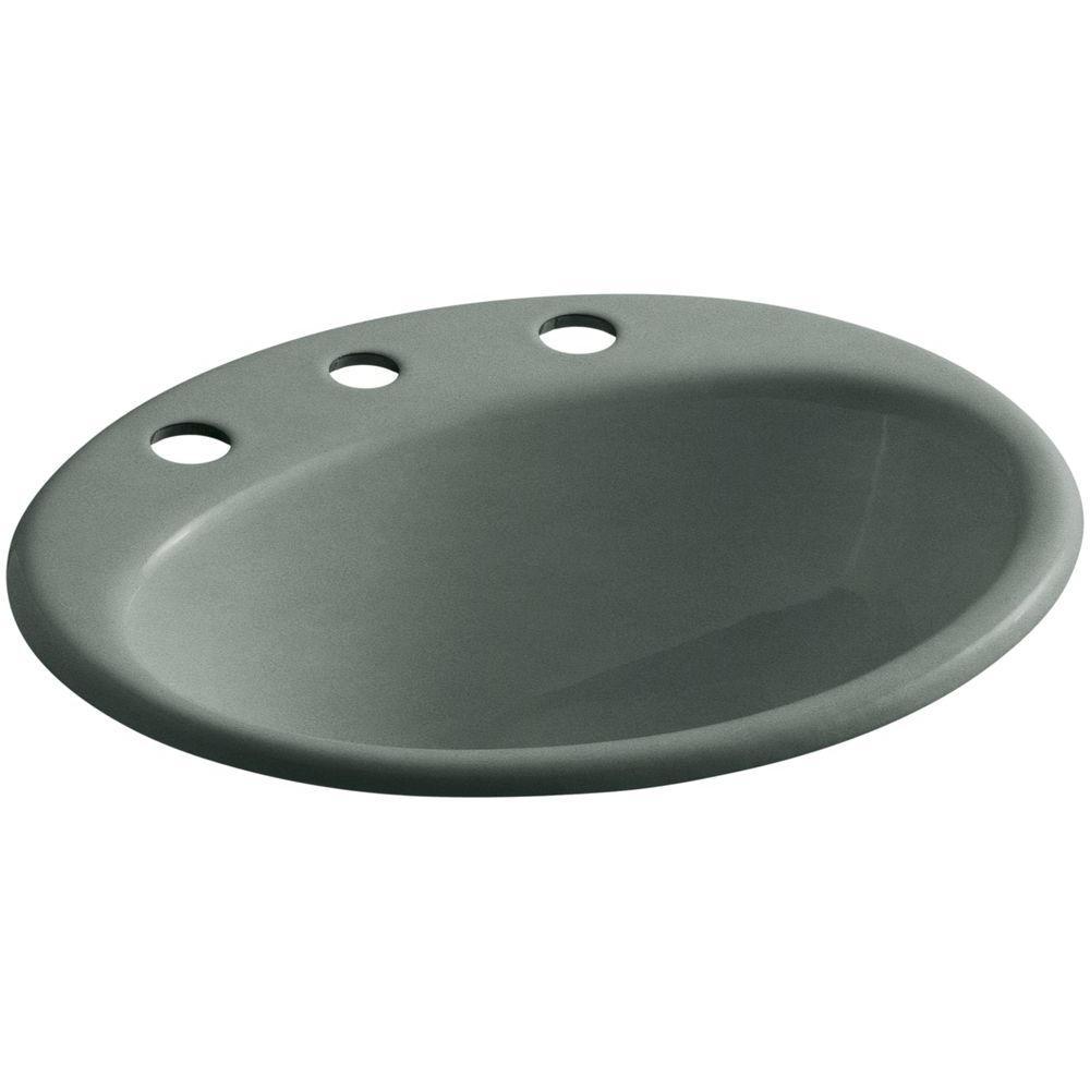 KOHLER Farmington Drop-In Cast Iron Bathroom Sink in Basalt with Overflow Drain
