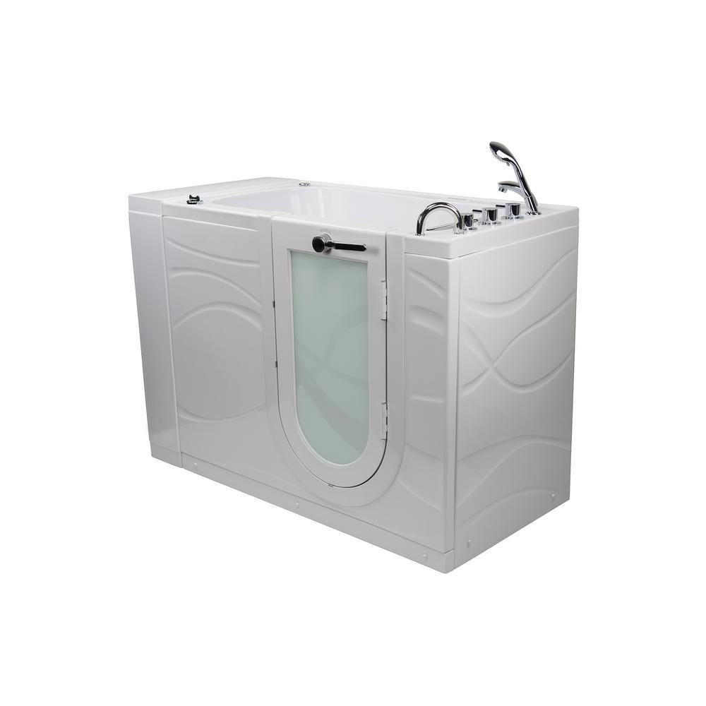 Zen 52 in. Walk-In Whirlpool & Air Bath Bathtub in White, RH Outward Swing Door, Digital Control, Faucet, RH Dual Drain