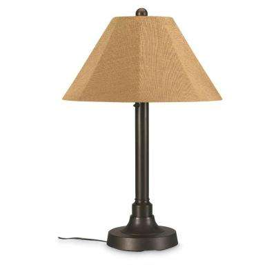 San Juan 34 in. Outdoor Bronze Table Lamp with Straw Linen Shade