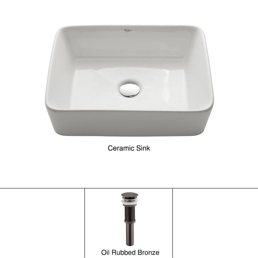 KRAUS Rectangular Ceramic Vessel Bathroom Sink In White With Pop Up Drain  In Oil Rubbed Bronze