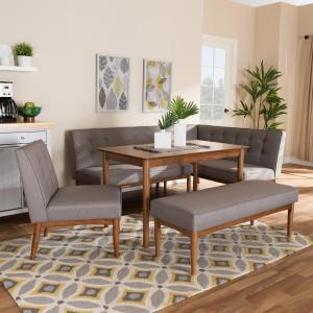 Magnificent Baxton Studio Arvid 5 Piece Gray Dining Nook Set 155 Ibusinesslaw Wood Chair Design Ideas Ibusinesslaworg