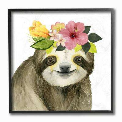 "12 in. x 12 in. ""Coachella Ready Sloth in Flower Crown"" by Grace Popp Printed Framed Wall Art"