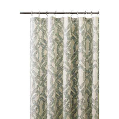 Waveland 72 in. l Green and Blue Shower Curtain