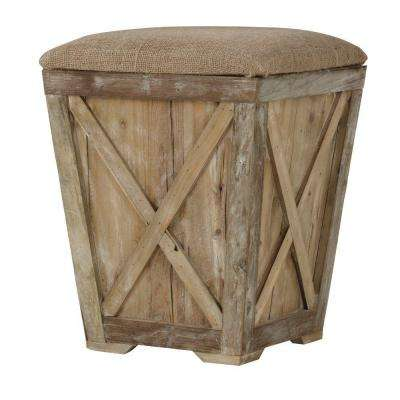 Middleton 21 in. Accent Stool with Burlap Seat Cushion in Reclaimed Pine