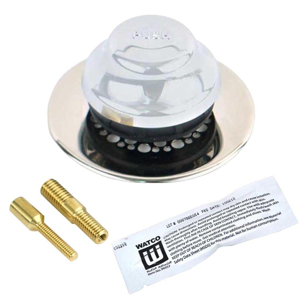 Universal NuFit Foot Actuated Bathtub Stopper with Grid Strainer and Silicone,