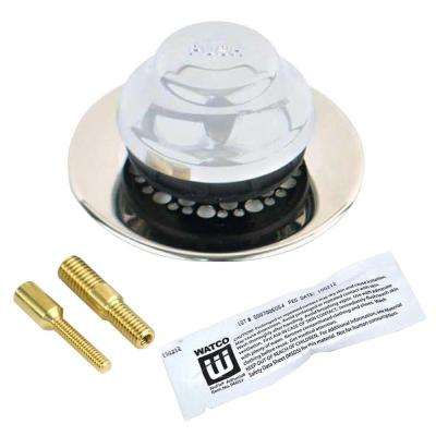 Universal NuFit Foot Actuated Bathtub Stopper with Grid Strainer and Silicone, Two Pin Adapters in Chrome Plated