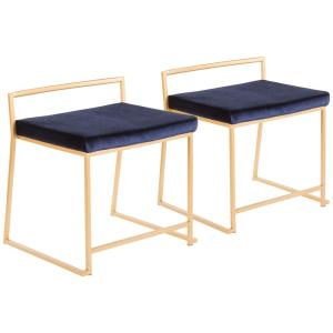 Fuji Stackable Dining Chair in Gold Metal and Blue Velvet (Set of 2)