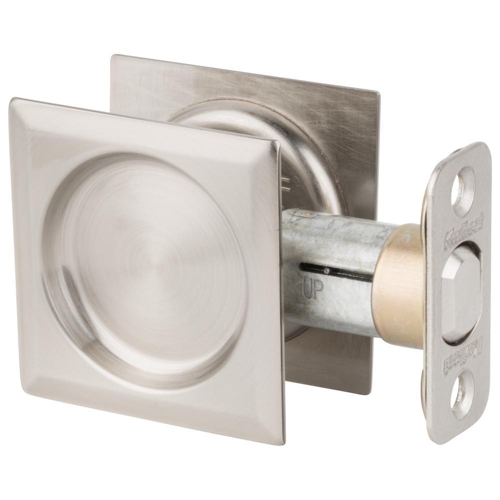 Kwikset Satin Nickel Square Hall/Closet Pocket Door Lock