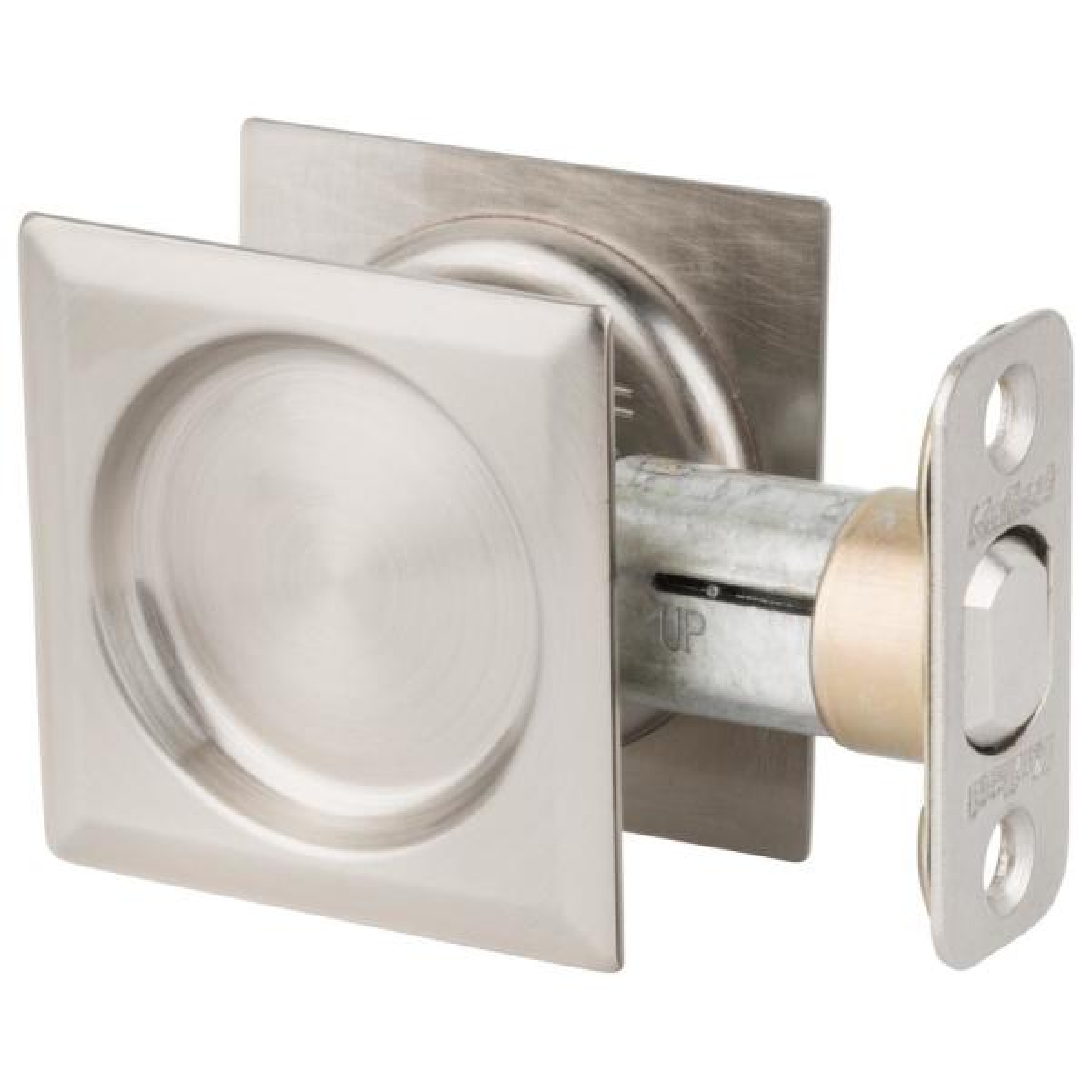 Satin Nickel Square Hall/Closet Pocket Door Lock