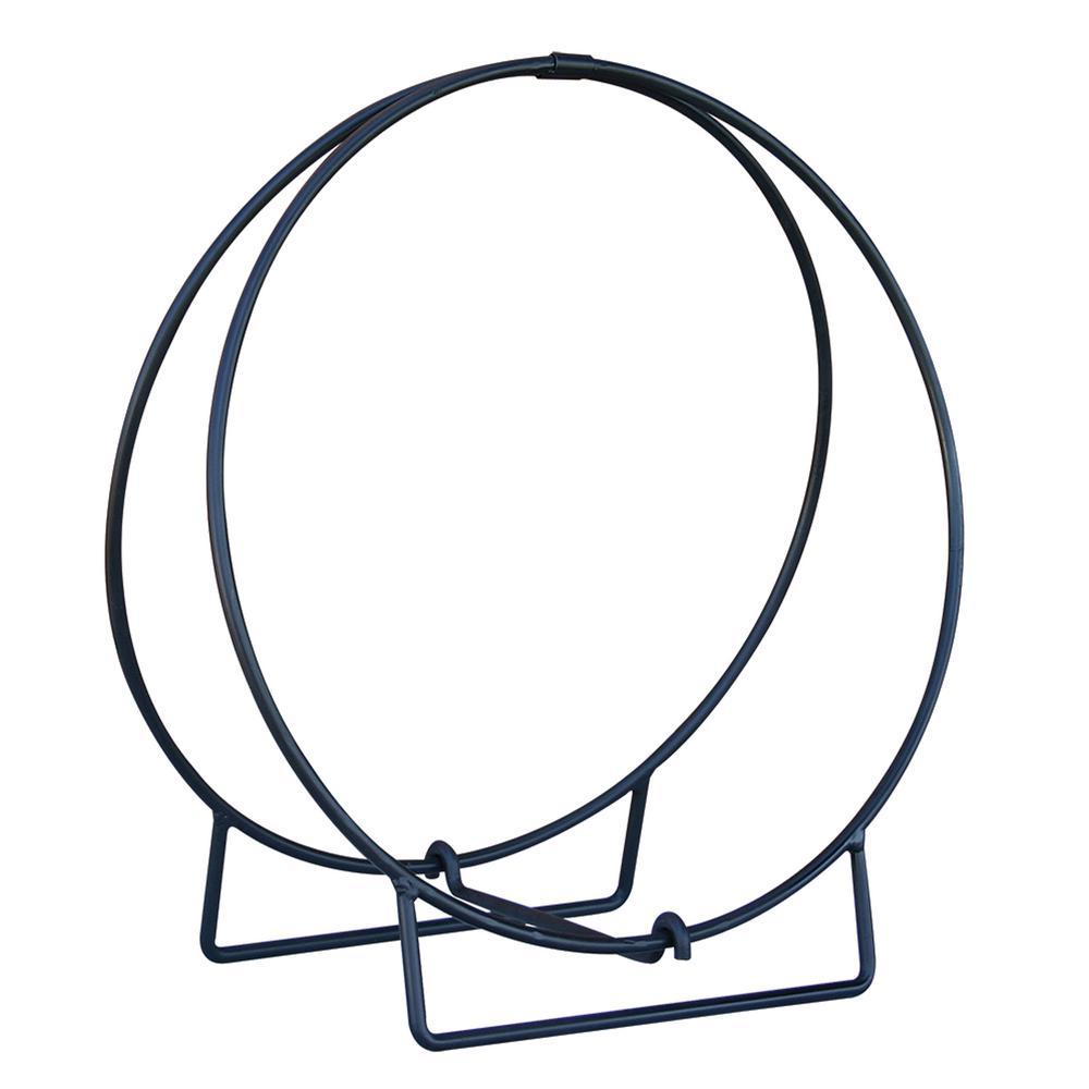 24 in. Diameter Black Log Hoop with 1/2 in. Solid Stock Steel Frame