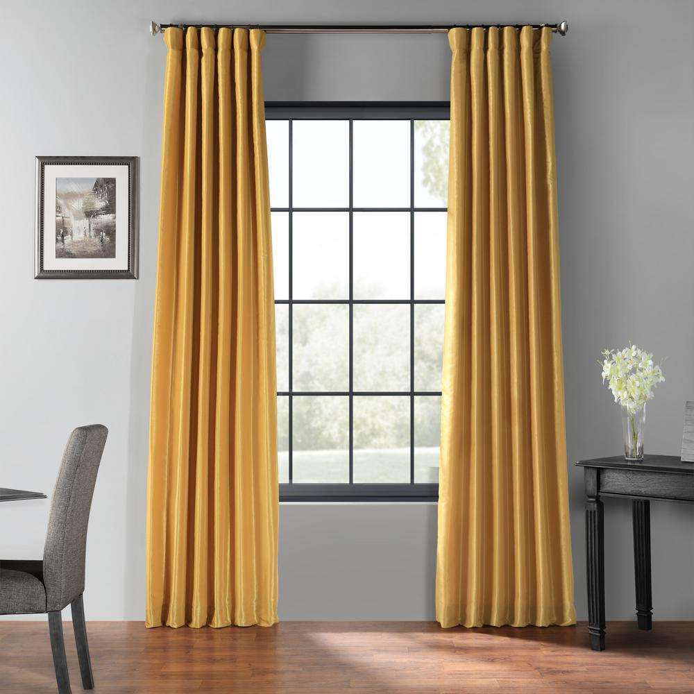 Exclusive Fabrics & Furnishings Allegro Gold Blackout Vintage Textured Faux Dupioni Silk Curtain - 50 in. W x 84 in. L