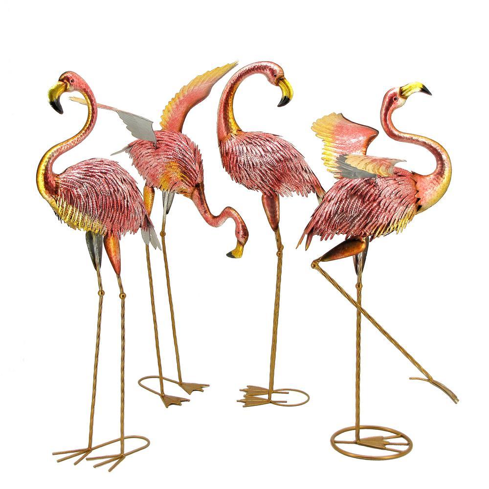 Metallic Pink Iron Flamingos (Set of 4)
