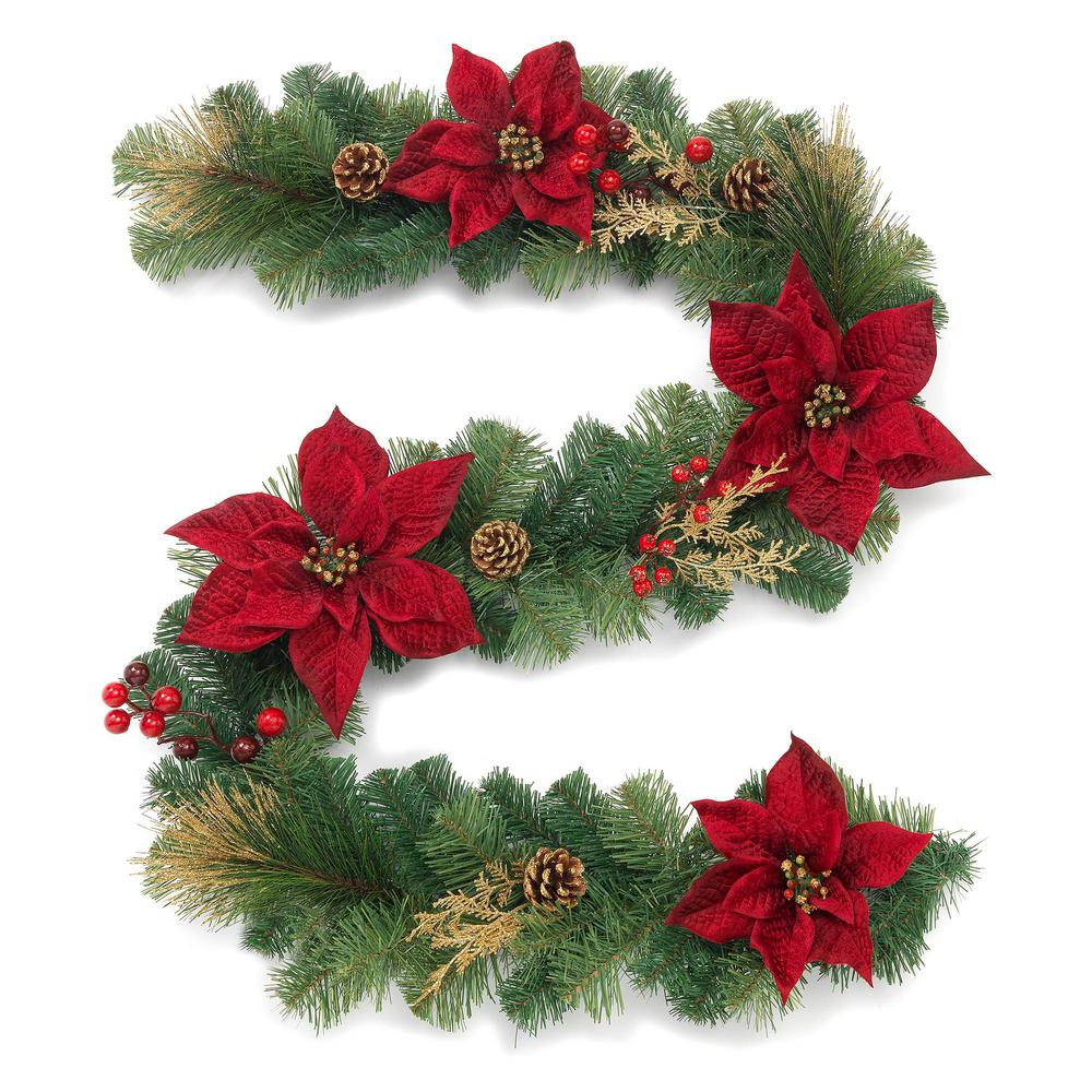 gold glitter cedar and mixed pine garland with burgundy poinsettias