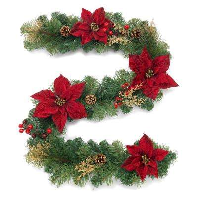 6 ft. Gold Glitter Cedar and Mixed Pine Garland with Burgundy Poinsettias