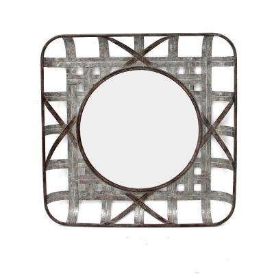 24 in. H x 24 in. W StyleWell Square Antiqued Galvanized Metal Frame with Round Accent Mirror