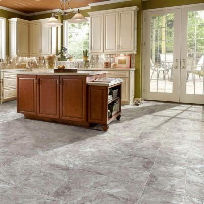 Groutable 18 in. x 18 in. White and Grey Travertine Peel and Stick Vinyl Tile (36 sq. ft. / case)
