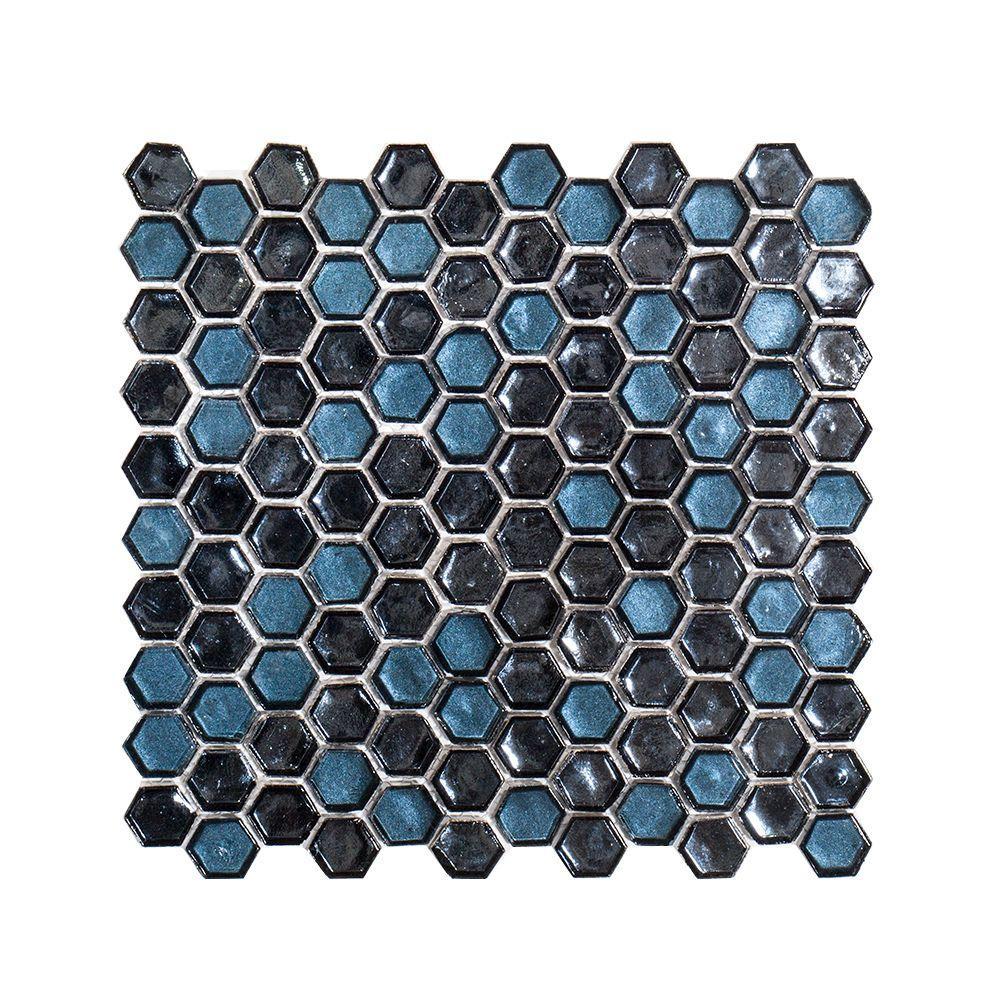 Mermaid Lagoon Blue 11.375 in. x 10.875 in. Hexagon Gloss Glass Mosaic Tile (0.859 sq. ft./Each)