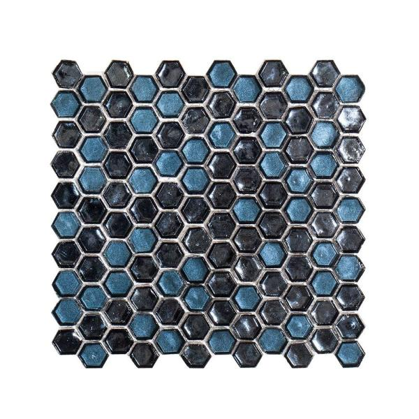 Mermaid Lagoon Blue 11.375 in. x 10.875 in. Hexagon Gloss Glass Wall and Floor Mosaic Tile (0.859 sq. ft./Each)