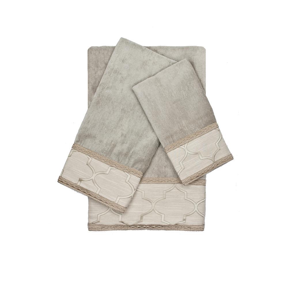 Ascot Grey Gimp Decorative Embellished Towel Set (3-Piece)