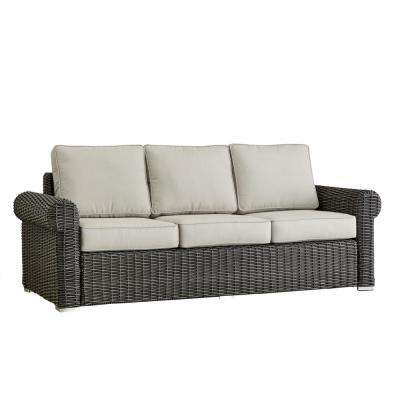 Camari Charcoal Rolled Arm Wicker Outdoor Sofa with Beige Cushion