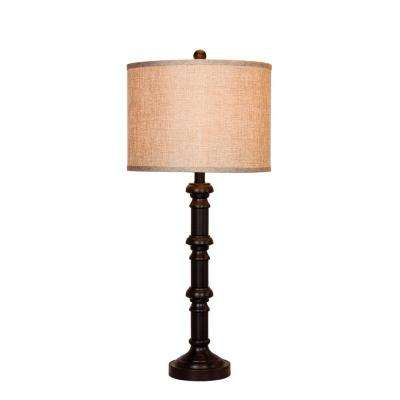 31 in. Oil Rubbed Bronze Metal Stacked Candlestick Table Lamp