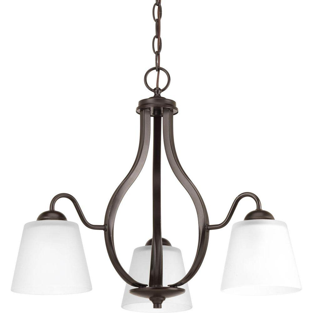 Arden Collection 3-Light Antique Bronze Chandelier with Shade with Etched Glass