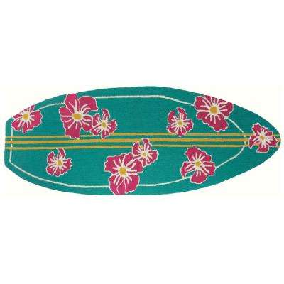 Surfboard Hibiscus Multi 1 ft. 9 in. x 5 ft. Accent Rug