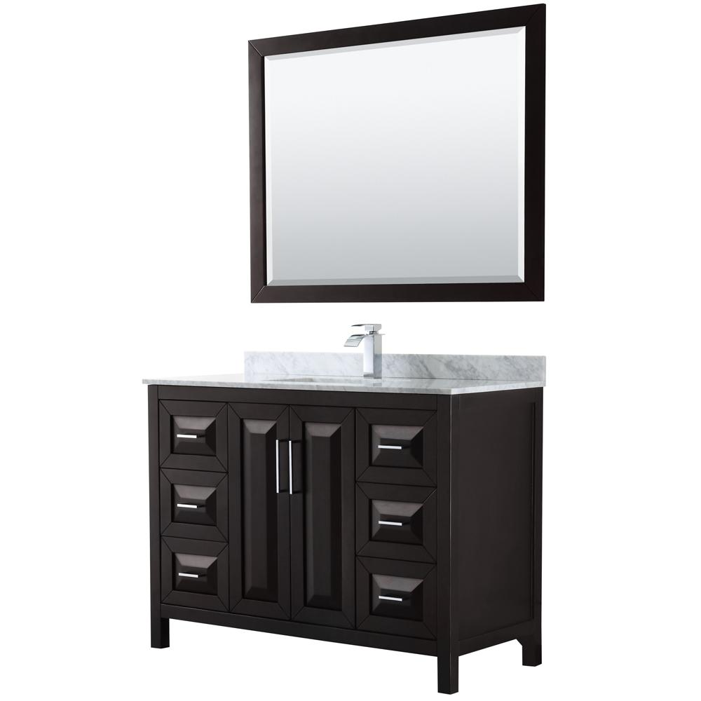 Wyndham Collection Daria 48 in. Single Bathroom Vanity in Dark Espresso with Marble Vanity Top in Carrara White and 46 in. Mirror