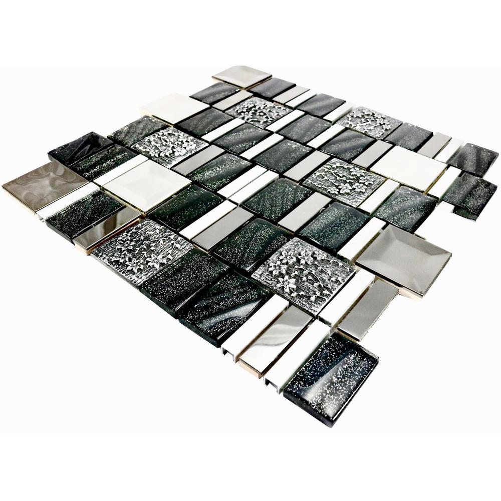 Aluminum mosaic tile tile the home depot vitray01 black 12 in x 12 in x 8 mm dailygadgetfo Image collections