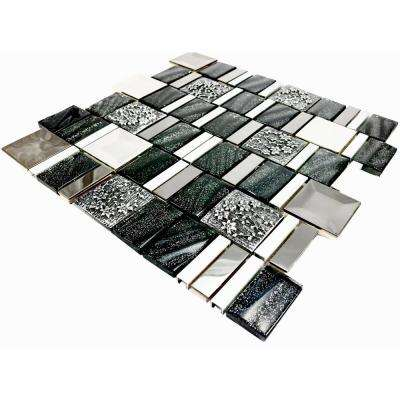 Vitray/01, Black, 12 in. x 12 in. x 8 mm Glass/Metal/ Hand Painted Ceramic Mesh-Mounted Mosaic Tile (10 sq. ft. / Case)