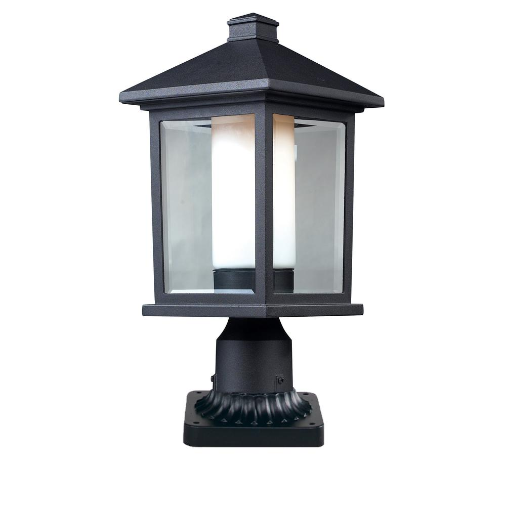 Ryker 1-Light Outdoor Black Post Light with Clear Beveled and Matte