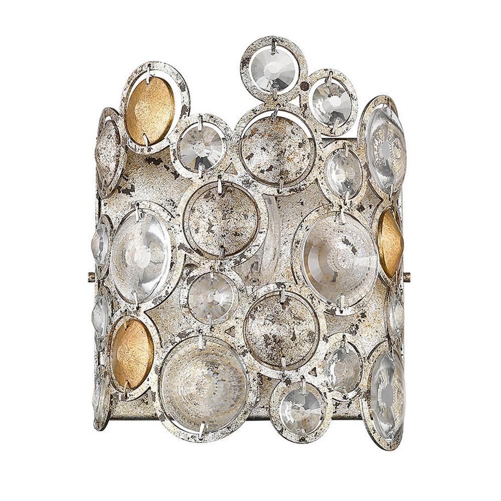 Vitozzi 1-Light Antique Silver Leaf Sconce