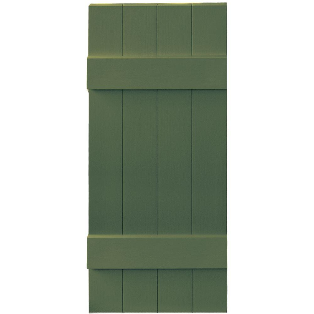 Builders Edge 14 in. x 35 in. Board-N-Batten Shutters Pair, 4 Boards Joined #283 Moss