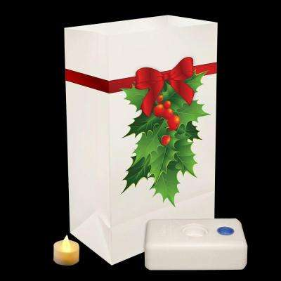 Holly Battery-Operated Luminaria Kit (Set of 12)