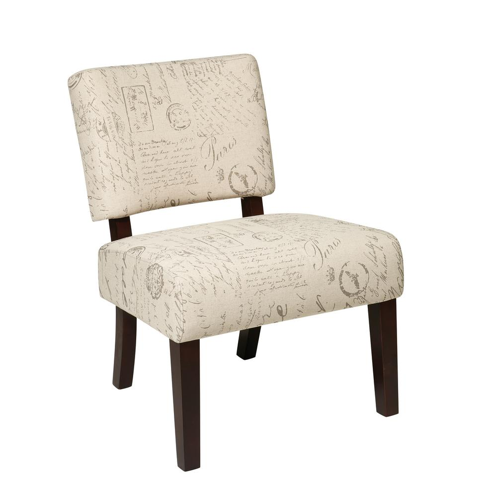 OSP Home Furnishings Jasmine Script Accent Chair Our attractive, comfortable Jasmine Accent Chair is the perfect piece to make any room in your home come alive . The solid wood leg construction adds a sense of elegance allowing for a mix of both modern and classic design preferences. Available assortment of high-performance, stunning fabrics make for a one of a kind style . Color: SCRIPT.