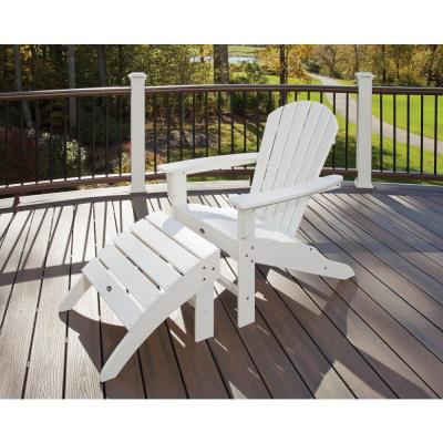 Yacht Club Shellback Classic White 2-Piece Patio Adirondack Chair