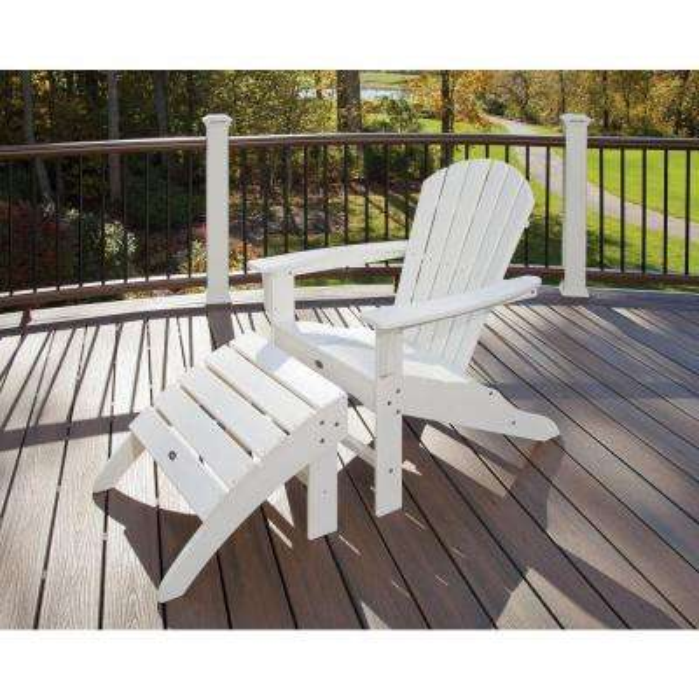 Yacht Club Shellback Classic White 2-Piece Patio Adirondack Chair