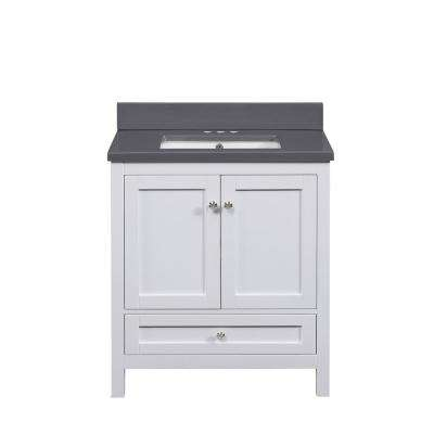 32 in. W Vanity in White with Cultured Marble Top in Grey with White Basin
