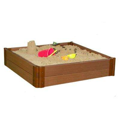 One Inch Series 4 ft. x 4 ft. x 11 in. Classic Sienna Composite Square Sandbox Kit