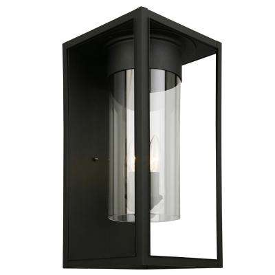 Walker Hill 1-Light Matte Black Outdoor Wall Mount Lantern
