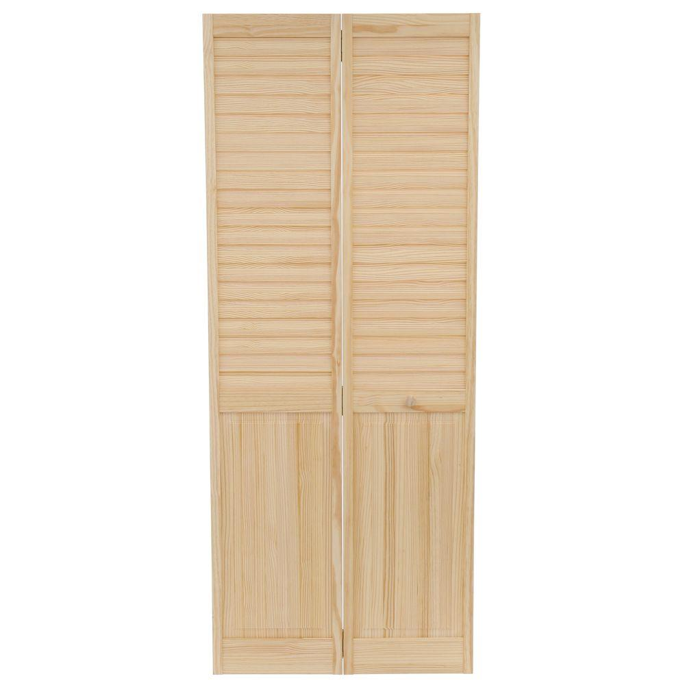 Kimberly Bay 32 In X 80 In Louver Panel Solid Core Unfinished Wood Interior Closet Bi Fold