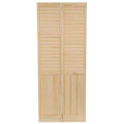 32 in. x 80 in. Louver Panel Solid Core Unfinished Wood Interior Closet Bi-Fold Door