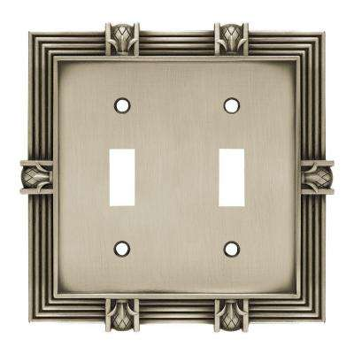 Pineapple Decorative Double Switch Plate, Brushed Satin Pewter